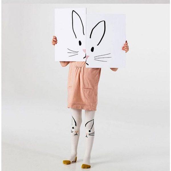 barn strumpbyxa kanin med halkskydd